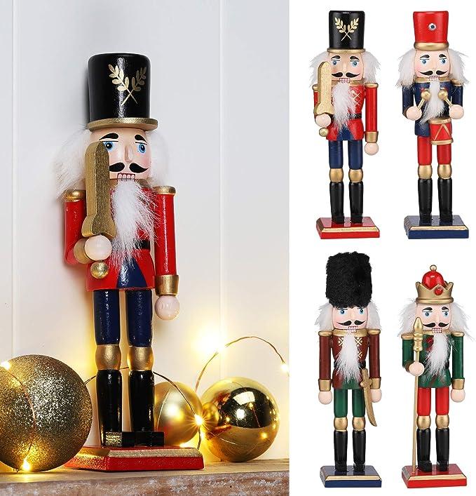 Unbekannt 260075 Deko Holz H/änger Nu/ßknacker Kyro Kiefer rot 4 St/ück Nussknacker Weihnachtsbaum Geschenke Anh/änger
