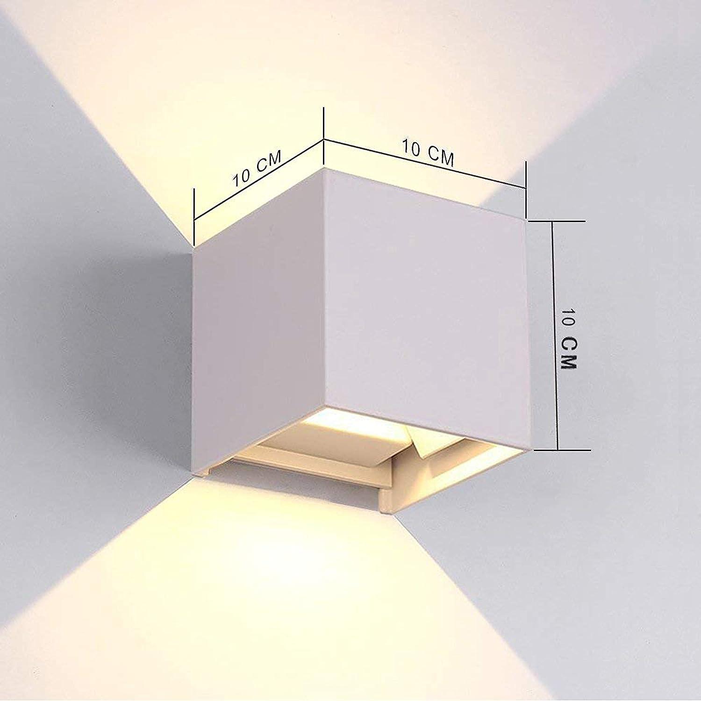 12W Sal/ón Comedor Jard/ín tvfly LED Apliques de Pared Modernos en Acero Blanco L/ámparas Exterior Impermeable IP65 para Dormitorios