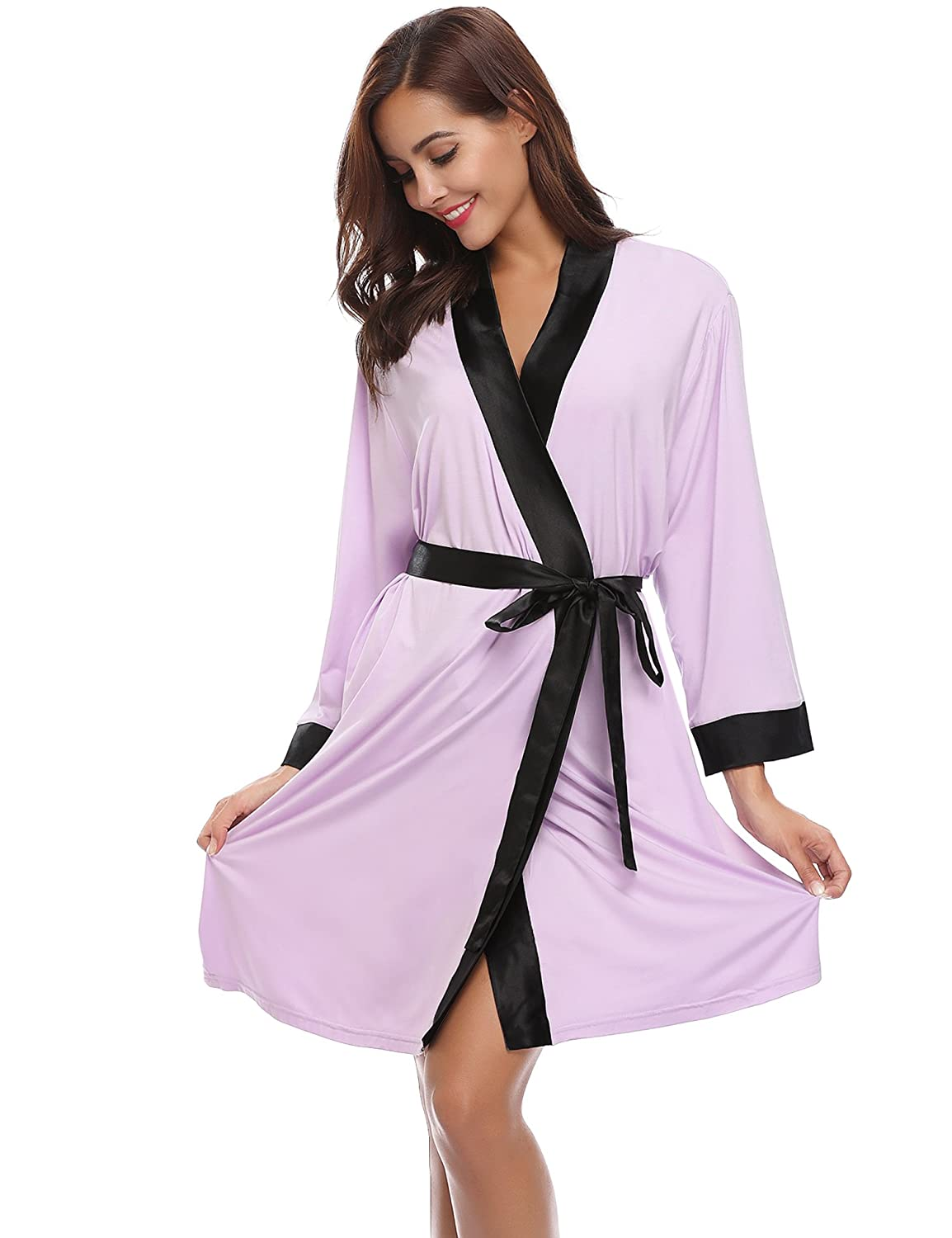 Aibrou Unisex Waffle Weave 100% Cotton Bathrobe Dressing Gown Lightweight Robe for Spa Hotel Sleepwear