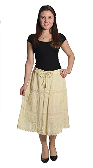 e7e27361b KayJayStyles Solid Color Bohemian Hippie Belly Gypsy Short Cotton Mid  Length Skirt (Cream) at Amazon Women's Clothing store: