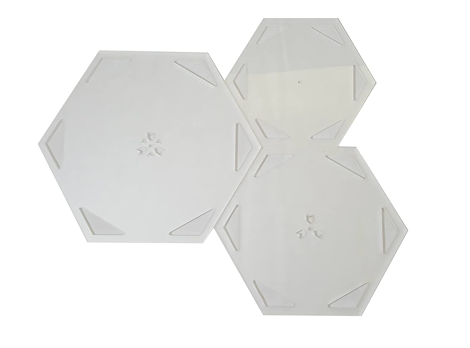 Duroedge Acrylic Hexagonal Quilting/Patchwork Frosted Transparent Template Set
