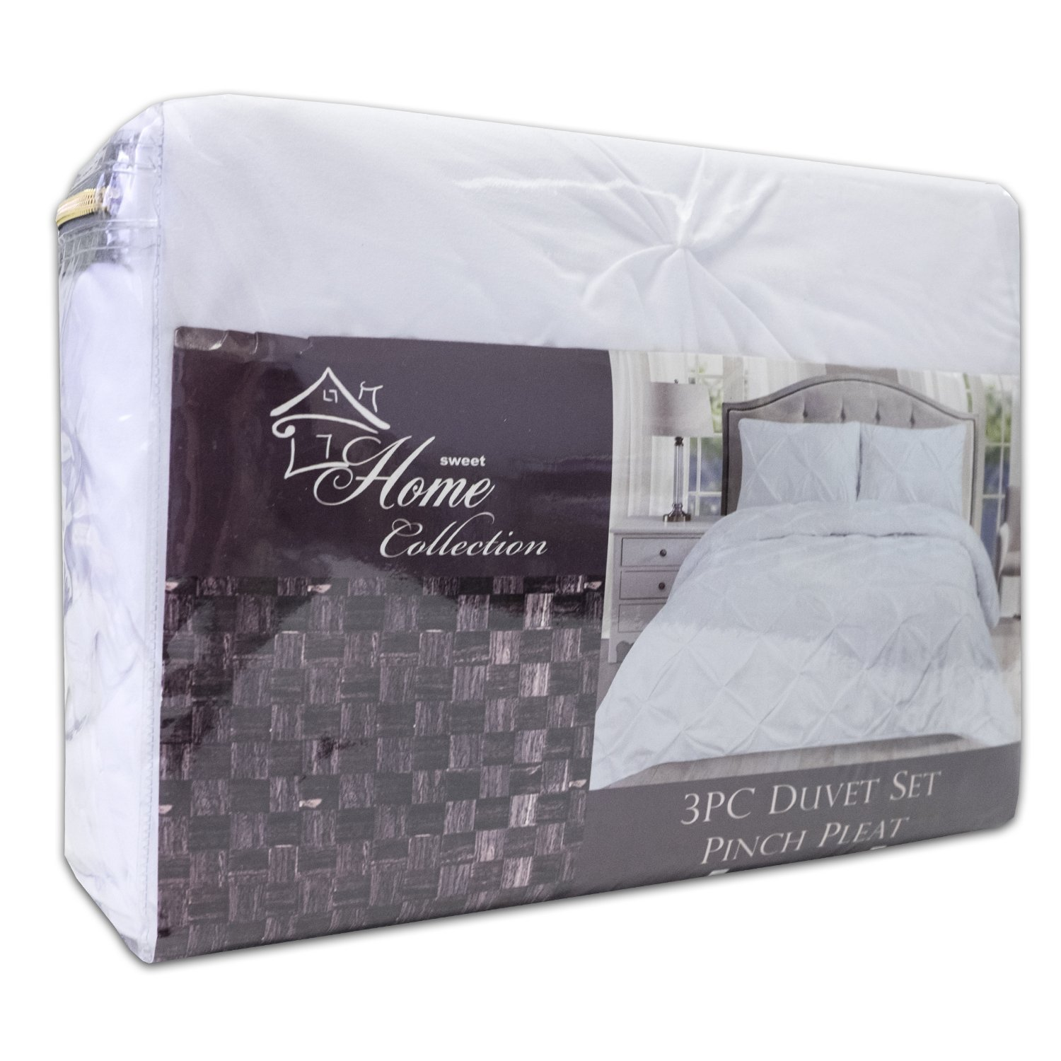 Sweet Home Collection 3 Piece Luxury Pinch Pleat Pintuck Fashion Duvet Set, Queen, White