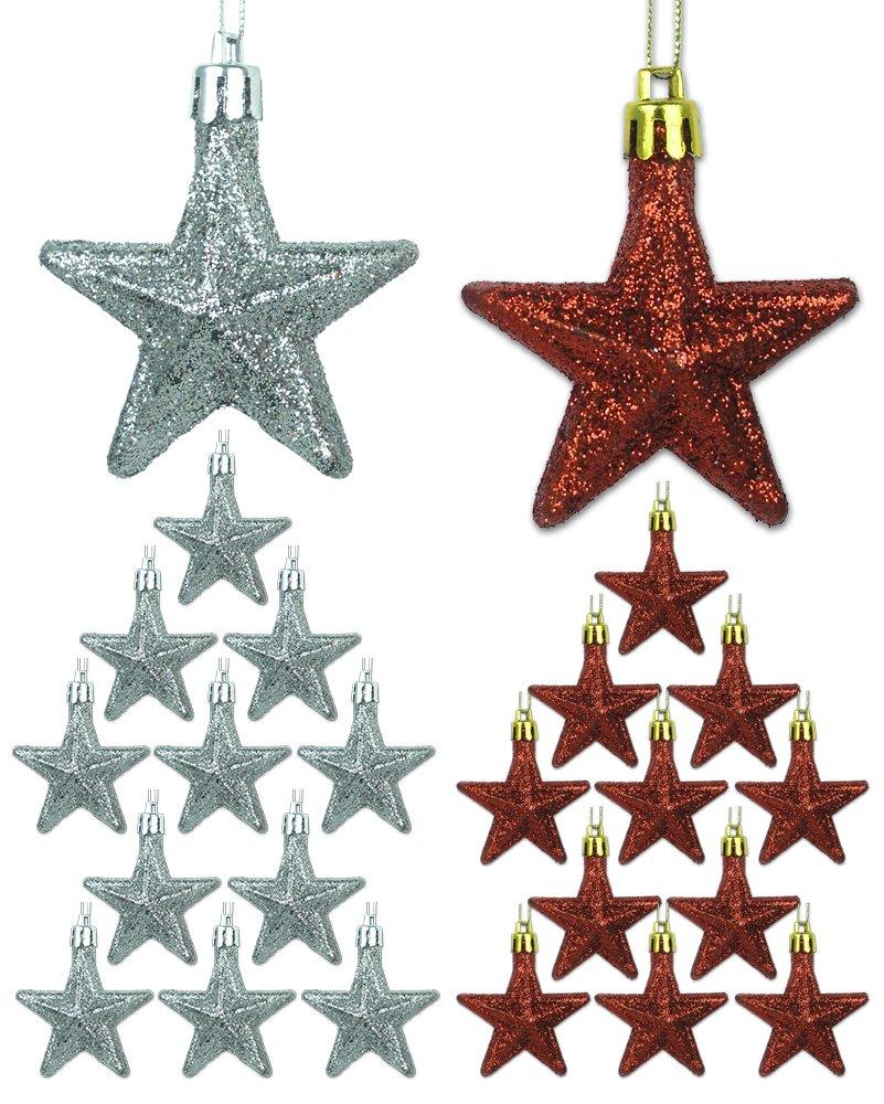 Amazon.com: Mini Ornaments - Set of 12 Red and Silver Glittery Star ...