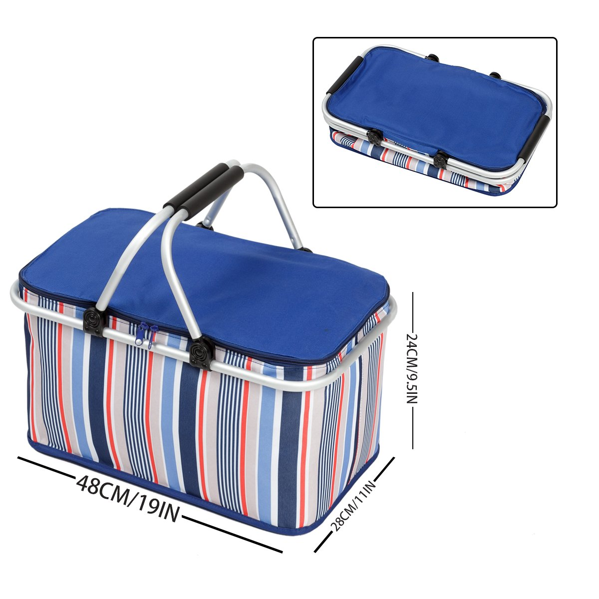 WISHPOOL Oxford Cloth Insulated Lunch Bag Reusable Collapsible Cooler Tote Box for Picnic Hiking (Bule1)