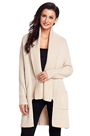 KCatsy Womens Sweater Coat Jacket Knitted Long Sleeve Waterfall Collar Pocket  Solid Loose Casual Fashion Jumper e3942cf29