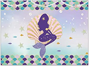 Allenjoy 8x6ft Under The Sea Little Mermaid Backdrop Glitter Mermaid Scales Pearl Necklace Pink Seashell Baby Girl Birthday Party Photography Background Cake Table Banner Photo Booth Props