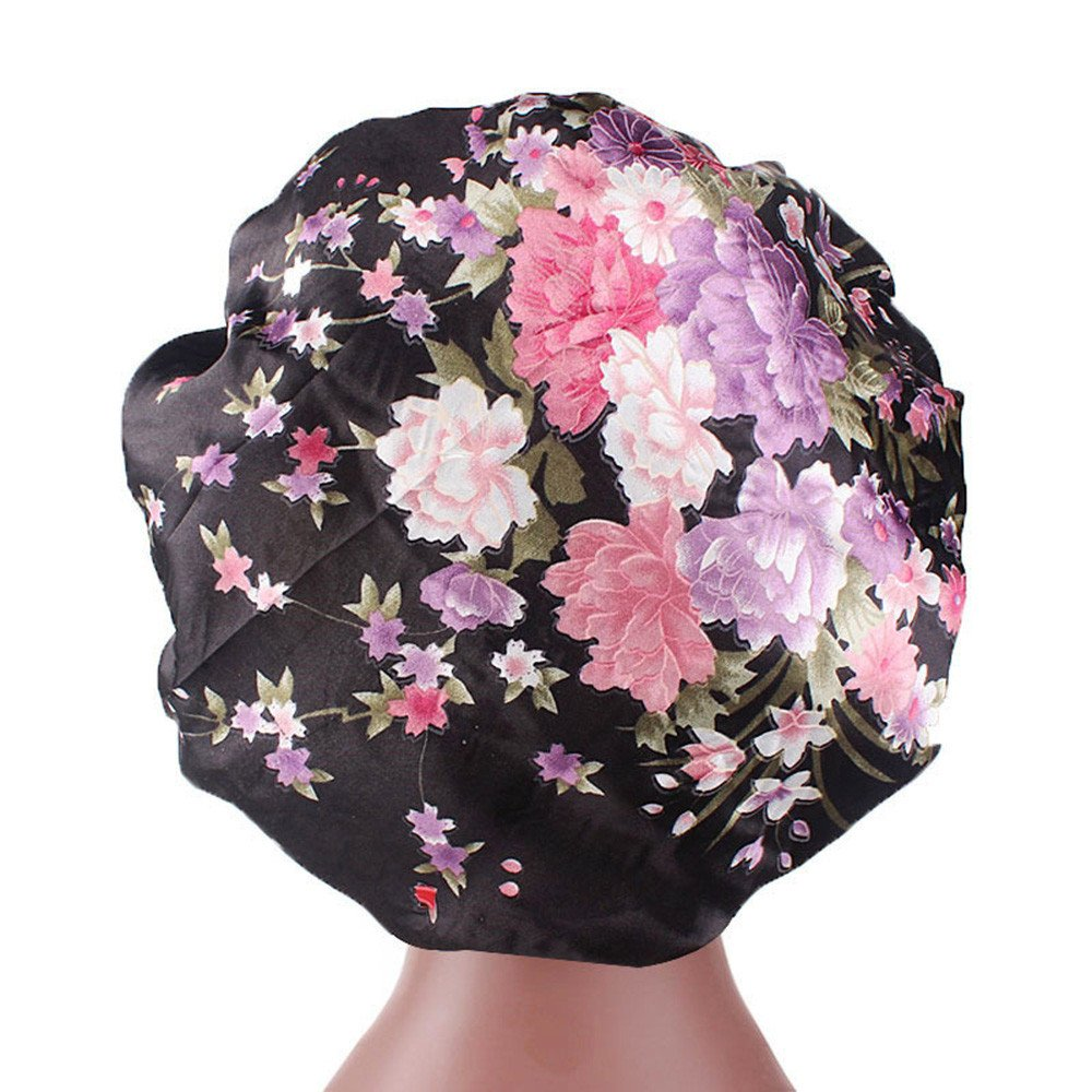 Tianjinrouyi Hats Women's Satin Print Wide-Brimmed Hair Band Sleep Cap Chemotherapy Hat Hair Cap Slouchy Chemo Caps for Women