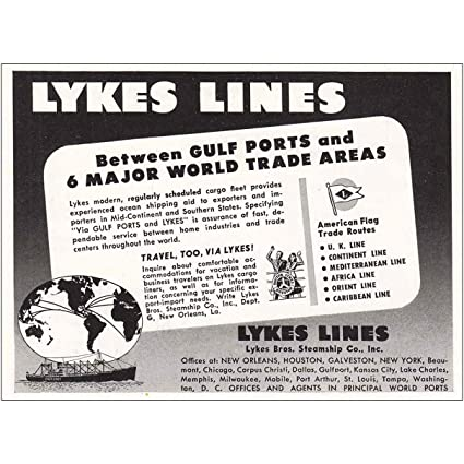 Amazon com: RelicPaper 1949 Lykes Lines: Between Gulf Ports
