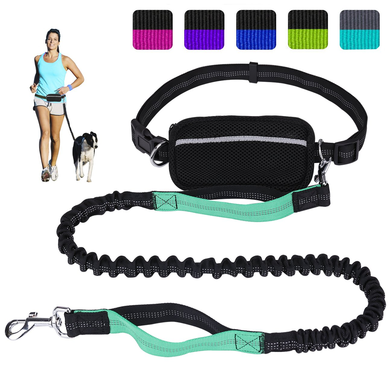 LANNEY Hands Free Dog Leash for Running Walking Training Hiking, Dual-Handle Reflective Bungee, Poop Bag Dispenser Pouch…