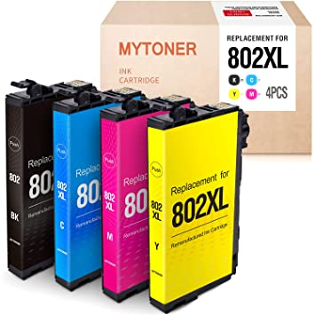 Mytoner Remanufactured Ink Cartridge Replacement for Epson 802 802XL T802XL T802 High Yield Ink for Workforce Pro WF-4720 WF-4730 WF-4734 WF-4740 ...