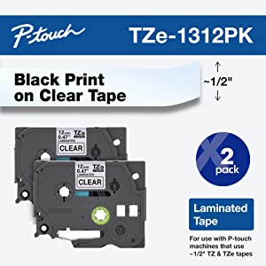 """Brother Genuine P-touch TZE-1312PK Tape, 1/2"""" (0.47"""") Standard Laminated P-touch Tape, Black on Clear, Perfect for Indoor or Outdoor Use, Water Resistant, 26.2 Feet (8M), Two-Pack"""
