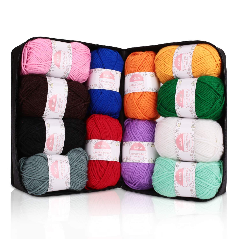 con gratis ganchillo y bolsa de almacenamiento perfecto para DIY y tejer a mano Hilo Acr/ílico SOLEDI Ovillos de Lanas de Hilo lana pr/émium Hilados Madejas 50 g * 12 colores