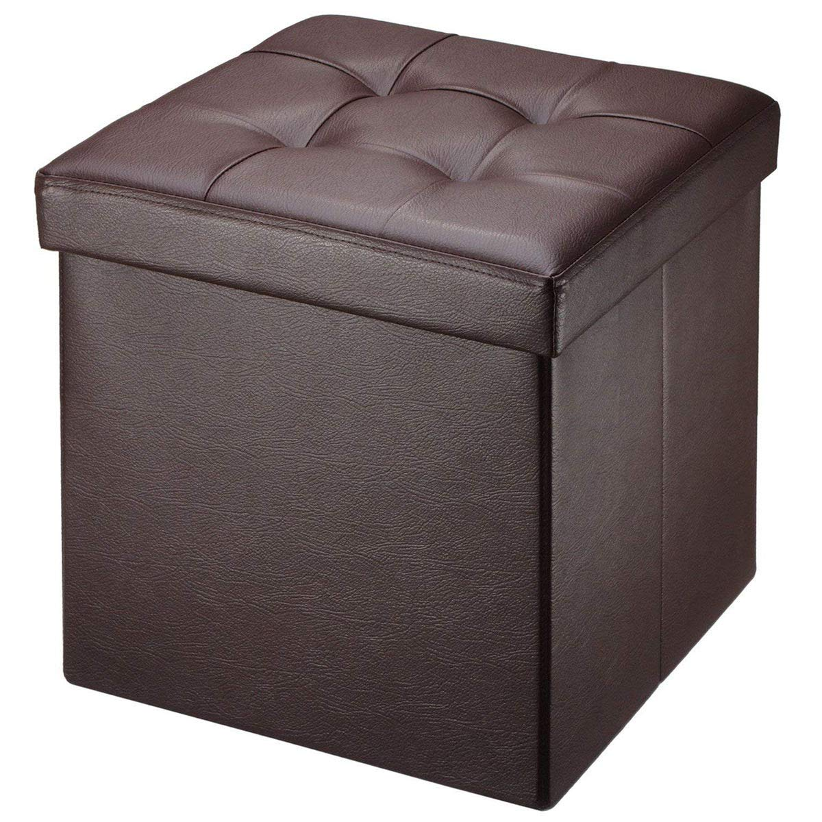 BRIAN DANY Faux Leather Folding Storage Ottoman Bench Seat Foot Rest Stool Coffee Table 15 X15 X15 Brown