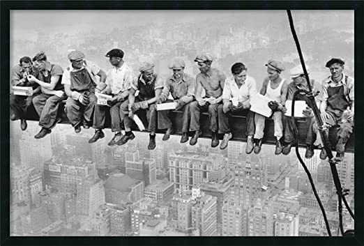 PREMIUM GICLEE CANVAS ART LUNCH A TOP SKYSCRAPER NEW YORK WORKERS