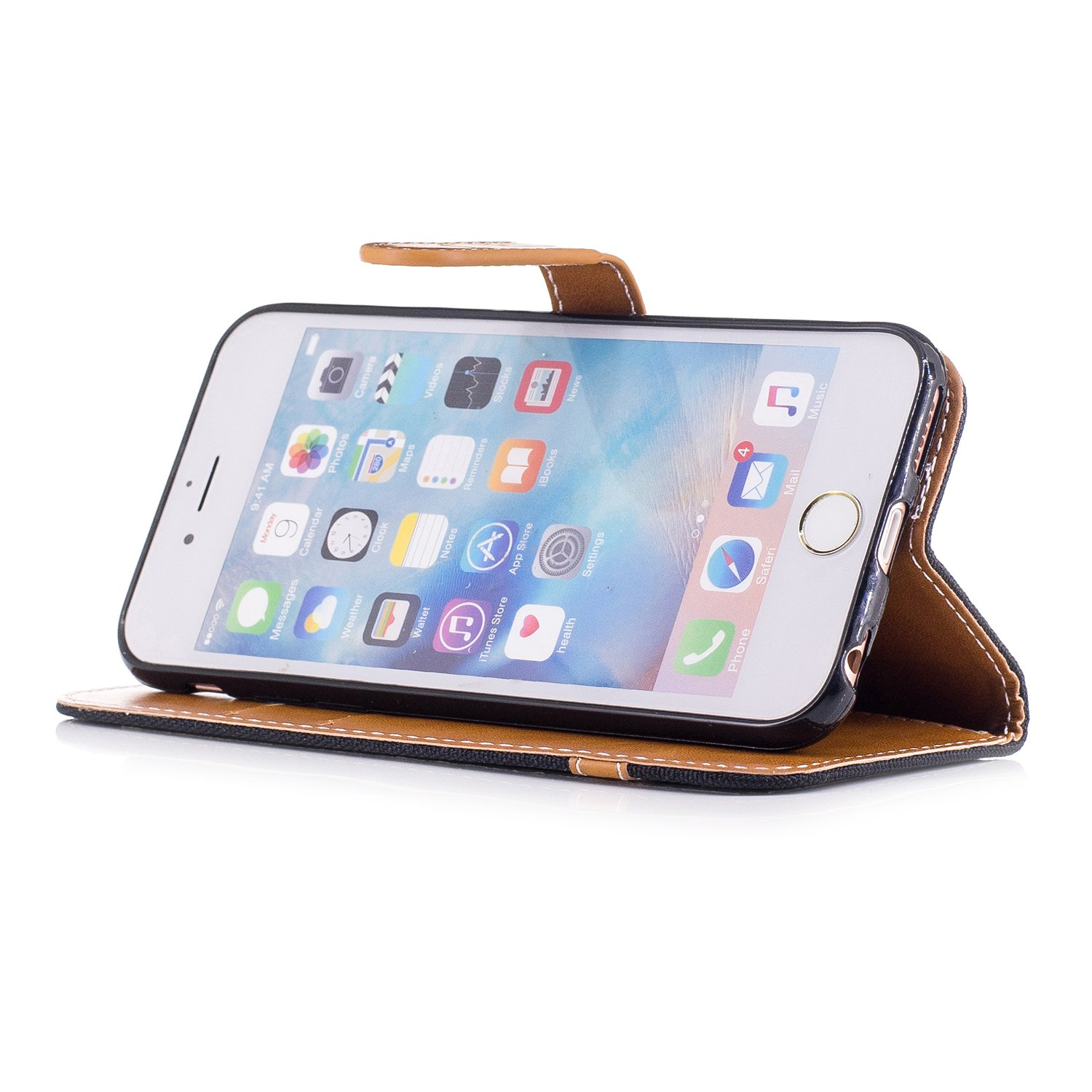 iPhone 6S Case,iPhone 6 Case,iPhone 6S//6 Case,ikasus Pure Denim Canvas Premium PU Leather Fold Flip Wallet Case Cover with Card Slots Stand Protective TPU Inner Case Cover for iPhone 6S//6,Black