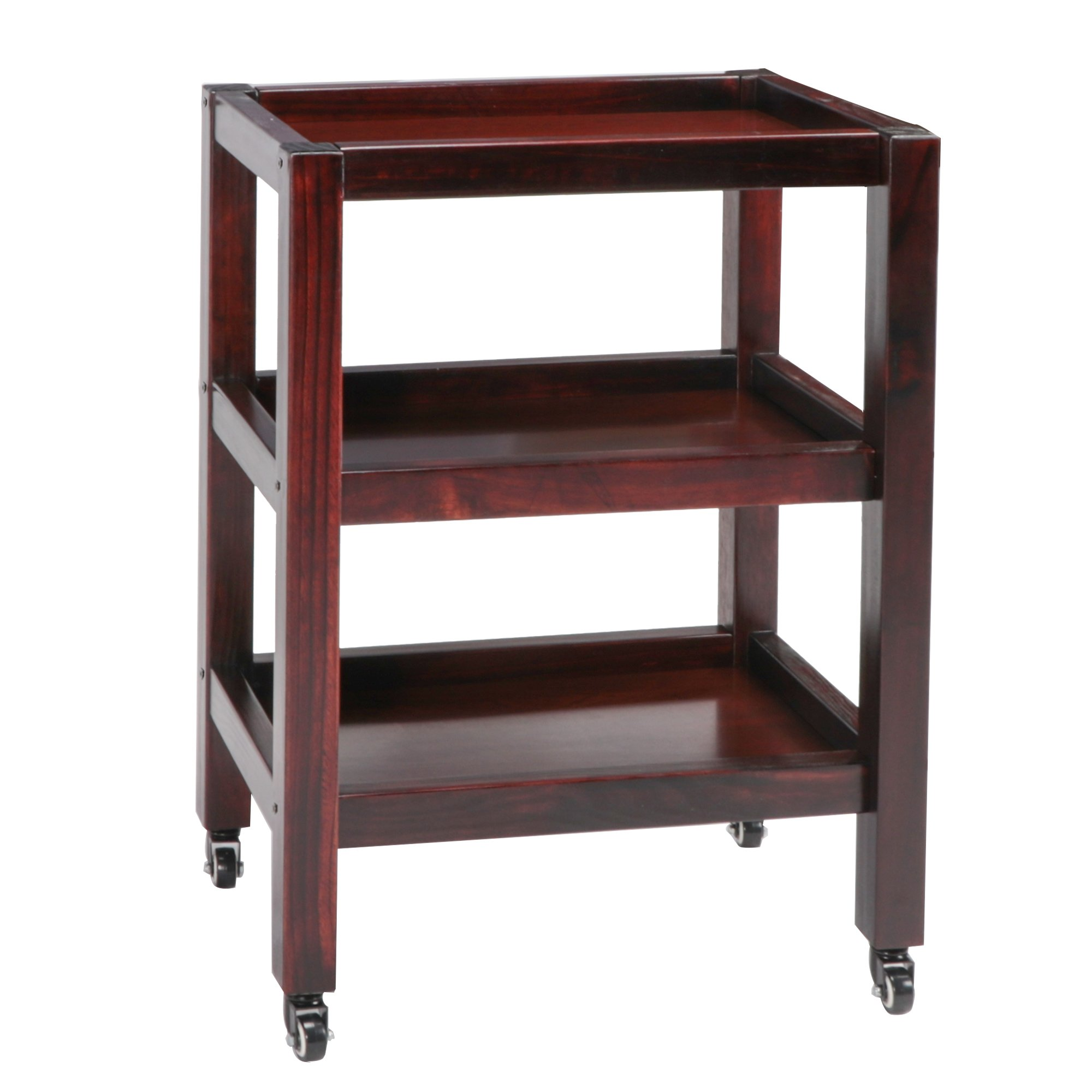 Master Massage Wooden 3-Tier Rolling Cart Large Trolley With Wheels, Walnut
