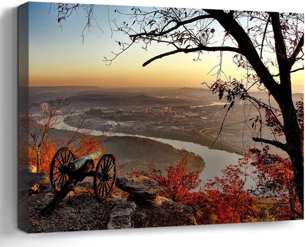 Wall Art Canvas Print Home Decor (20x14 inches)- Chattanooga Tennessee City Cities Urban View