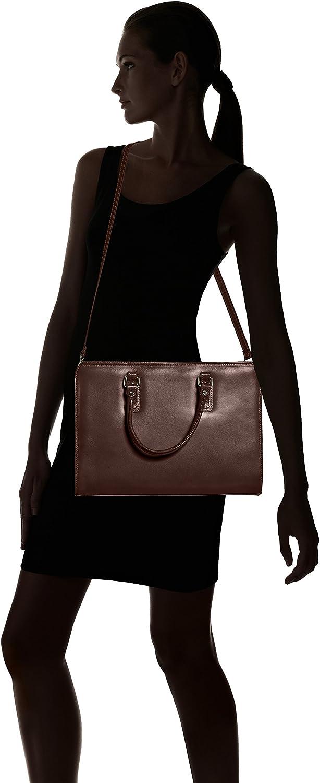 Chicca Tutto Moda Schulranzen für Frauen mit Griffen, italienisches Modell, 100% echtes Leder Made in Italy Braun (Marrone Scuro)