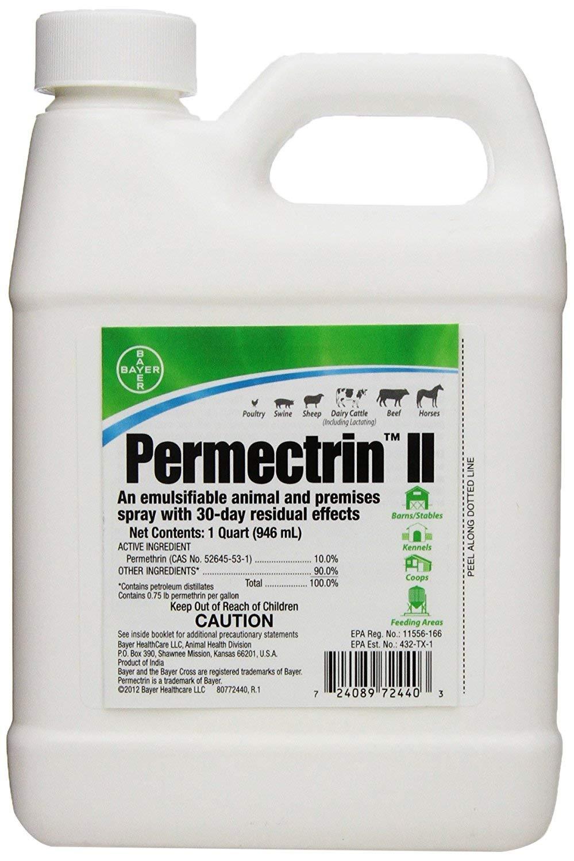 Absorbine Bayer 32 oz Quart Permectrin II Barn Horse Mosquito Deer Ticks Lice Flea Spiders Fly Spray