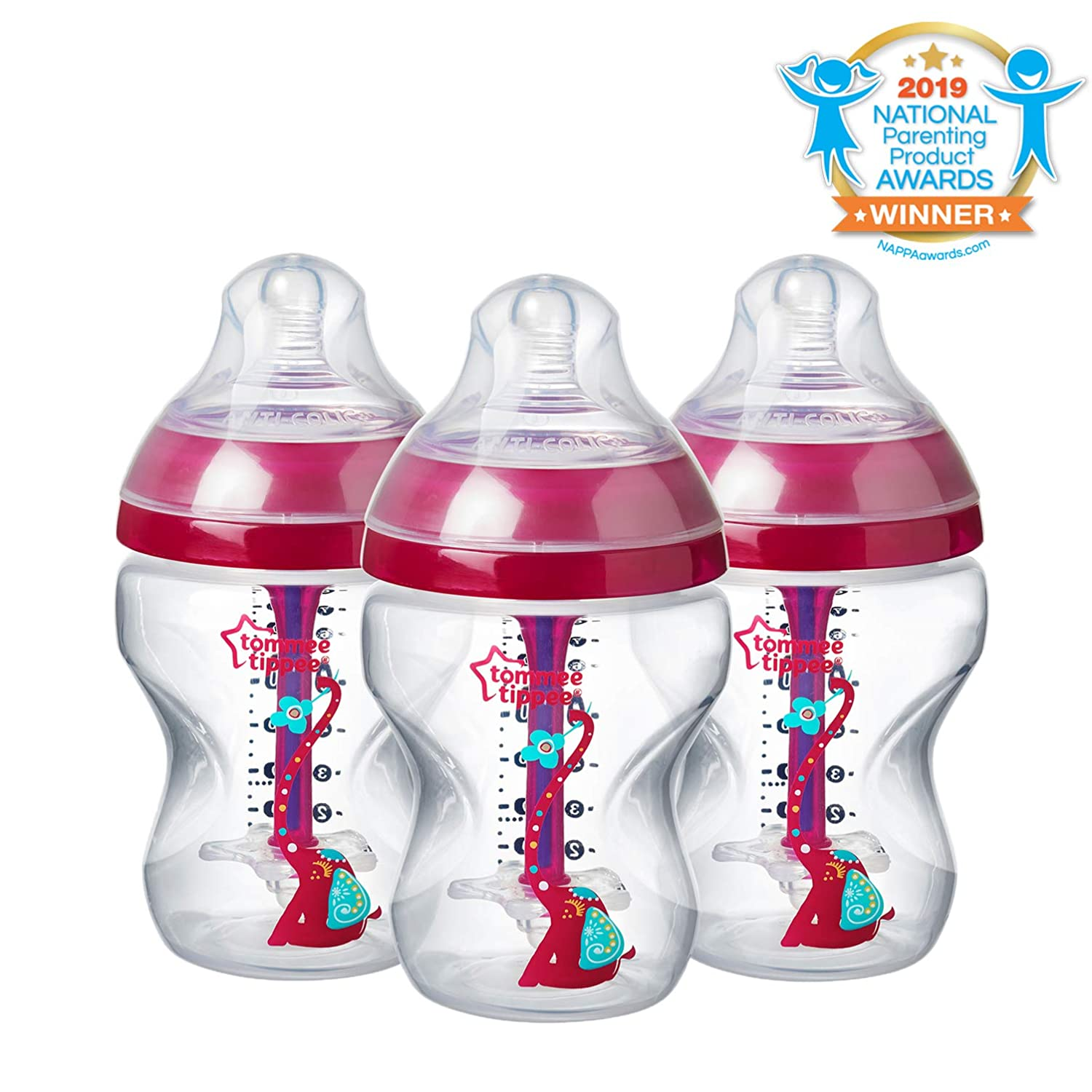 Tommee TippeeDecorated Advanced Anti-Colic Bottles, Breast-Like Slow Flow Nipple, Heat-Sensing Technology, BPA-Free - Pink - 9 Ounce, 3 Count