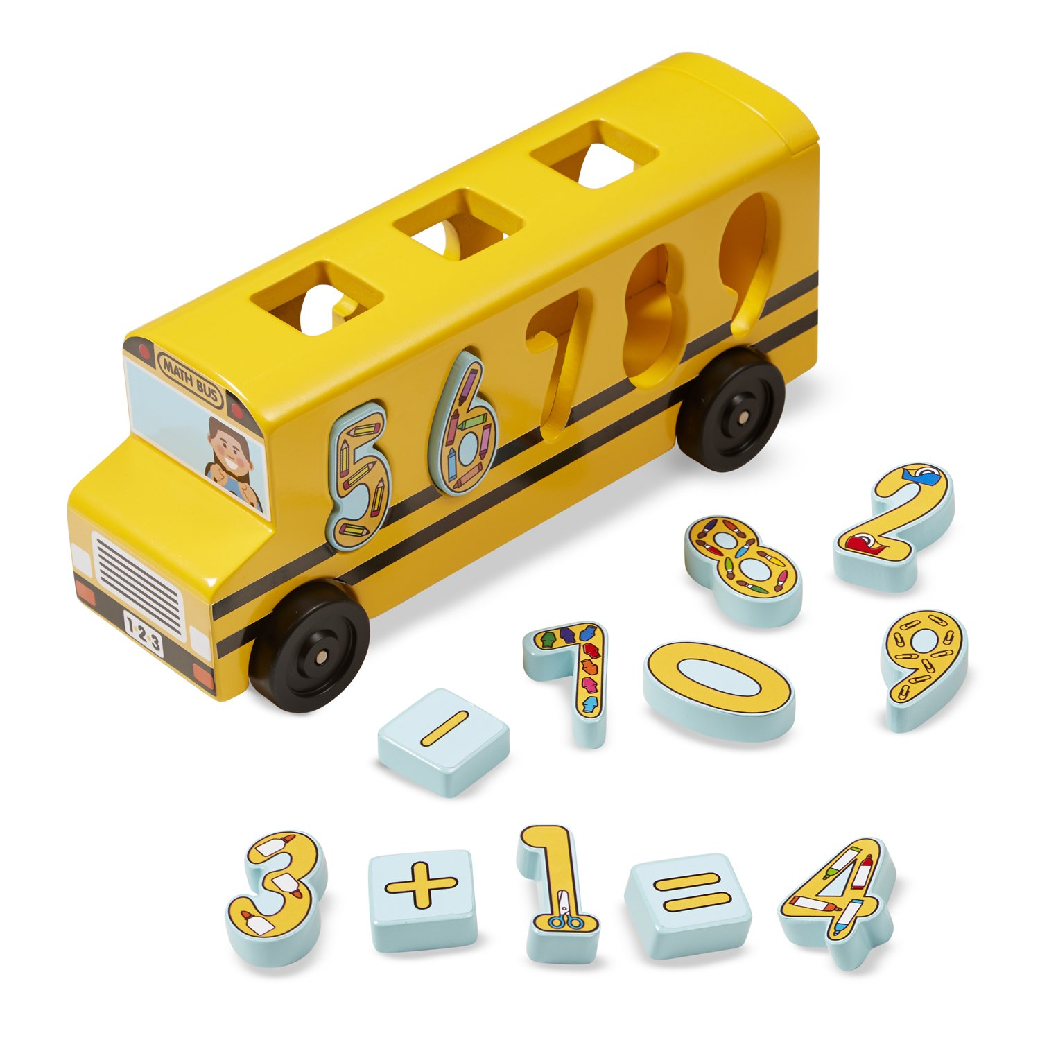 Melissa Doug Number Matching Math Bus Educational Toy With 10 Numbers 3 Math Symbols and 5 Double Sided Cards