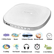 Three Sheep White Noise Machine, Baby Sleep Sound Machine with 20 Soothing Sounds, Sleep Timer, Headphone Jack, Rechargeable and USB Socket for Adult and Children (S5 20 Sound White)