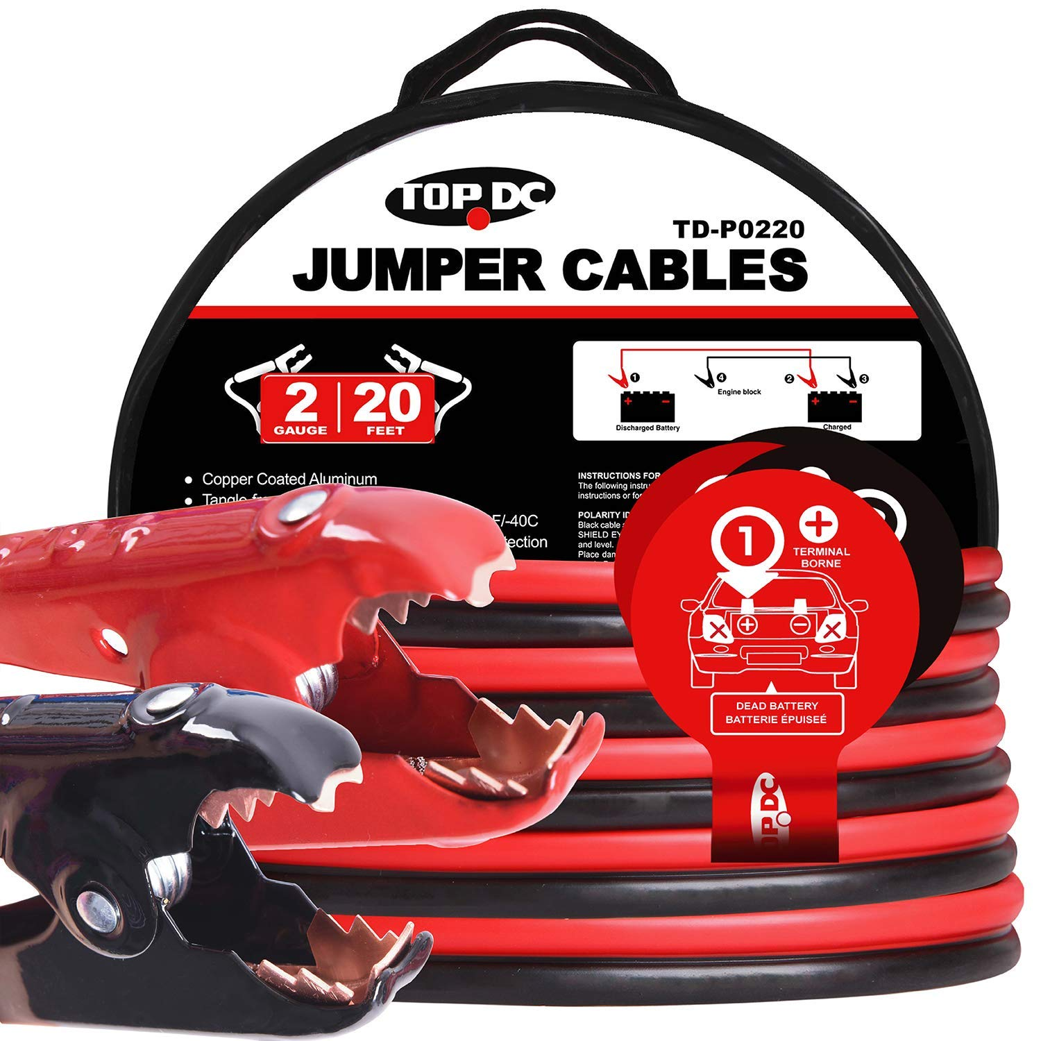 TOPDC Jumper Cables 2 Gauge 20 Feet 450Amp Heavy Duty Booster Cables with Carry Bag (2AWG x 20Ft) by TOPDC