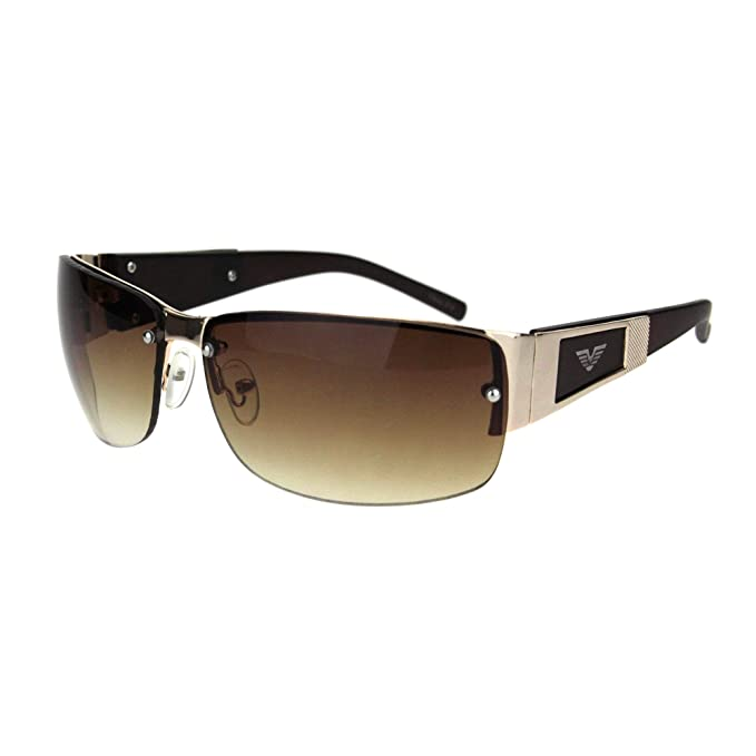 3de7141321 Amazon.com  Men s Fashion Rimless Rectangular Sunglasses- Gold Brown ...