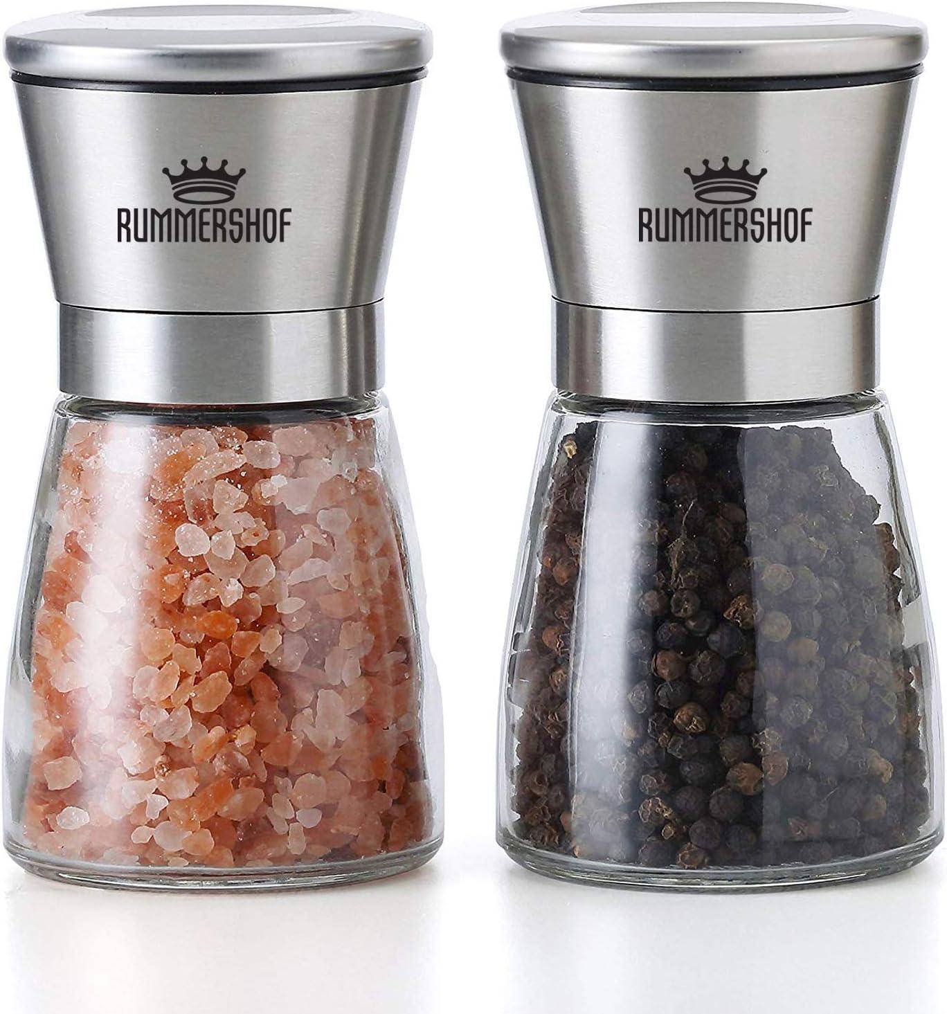 Rummershof Salz und Pfeffer M/ühle Set 2 Design Pfefferm/ühlen aus Edelstahl mit Keramikmahlwerk