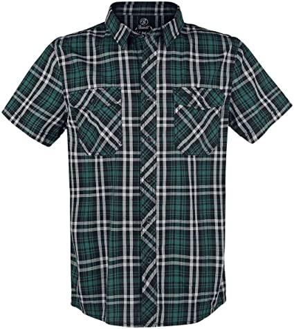 Brandit Roadstar Hombre Camisa Manga Corta Negro/petróleo/Blanco, Regular: Amazon.es: Ropa y accesorios