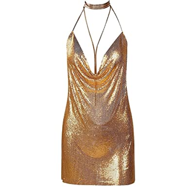 60142a81ffb Metal Material New Women Fashion Chainmaille Dress Sexy Party Deep V Neck  Plunge (Gold)