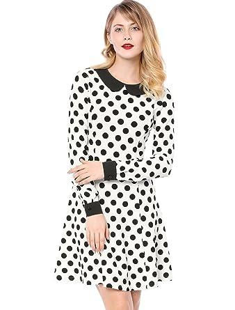 5f82739205c Allegra K Women s Polka Dot Contrast Collar Above Knee A Line Dress XS White