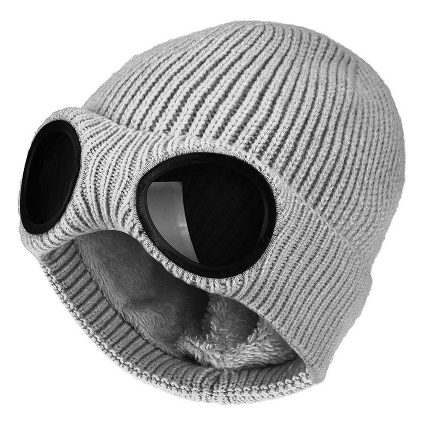 Chad Hope Fashion Ski Cap Removable Glasses for Men Women Double-use Thickened Warm Winter Knitted Hat