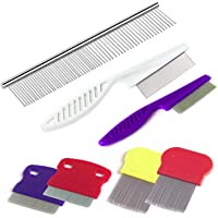 TuNan 7 Pcs Pet Dog Grooming Comb, Metal Head Comb for Long Hair, Dog Tear Stain Remover Combs, Hair Combs Remover for Dogs Cats, Pet Grooming Tool Removes Crust, Mucus and Stains - 5 Types
