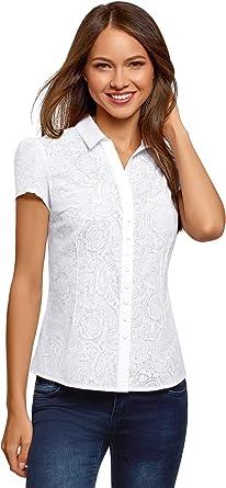 oodji Collection Mujer Blusa Entallada de Manga Corta, Blanco, ES 40 / M: Amazon.es: Ropa y accesorios