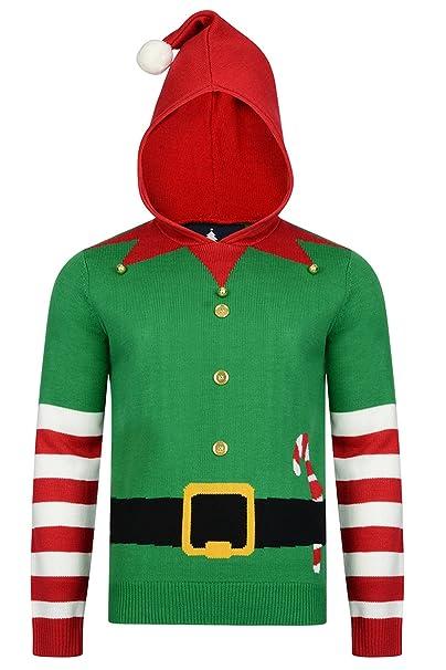 Christmas Hoodies.Threadbare Mens Rudolph Or Buddy Elf Festive Christmas
