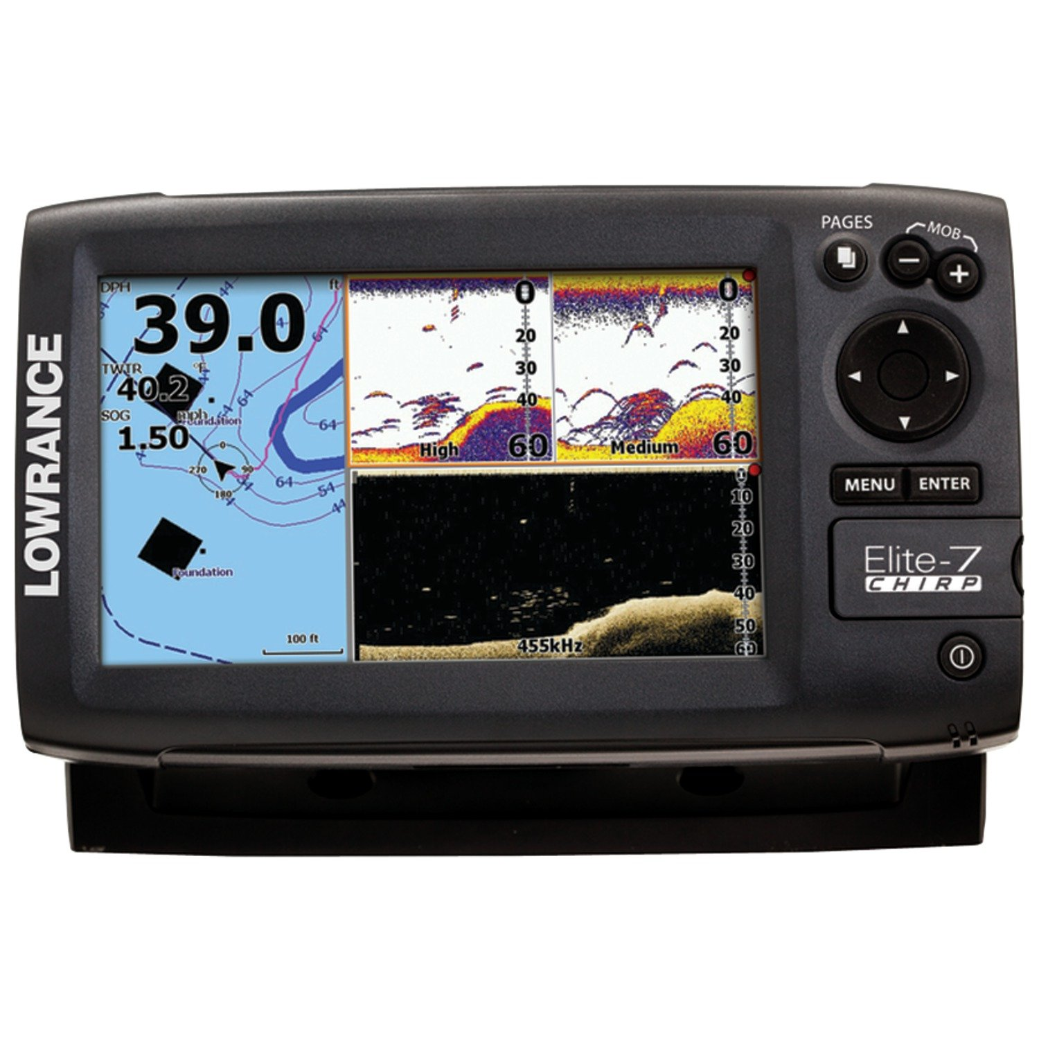 Lowrance Elite 7 Chirp Fishfinder Chartplotter With 83 Wiring Diagram Hook 200 455 800 Khz Transducer Cell Phones Accessories