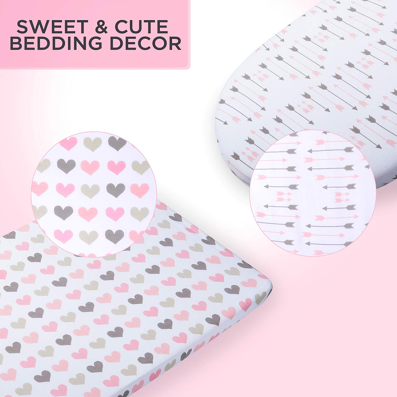Fits Oval Halo Momcozy Universal Bassinet Sheets Set 2 Pack for Girls Pink Heart /& Arrows Ingenuity Fitted Elastic Design Chicco Lullago Arms Reach Soft /& Breathable 100/% Cotton