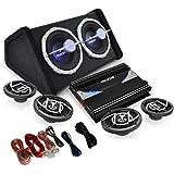AUNA Black Line 520 - Pack Sono complet - Set tuning avec Ampli, Enceintes, Subwoofer et câbles (4.1, effets lumineux) - Noir