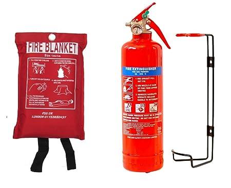 NEW FSS UK PLUS 1 KG POWDER ABC FIRE EXTINGUISHER WITH FIRE BLANKET ...