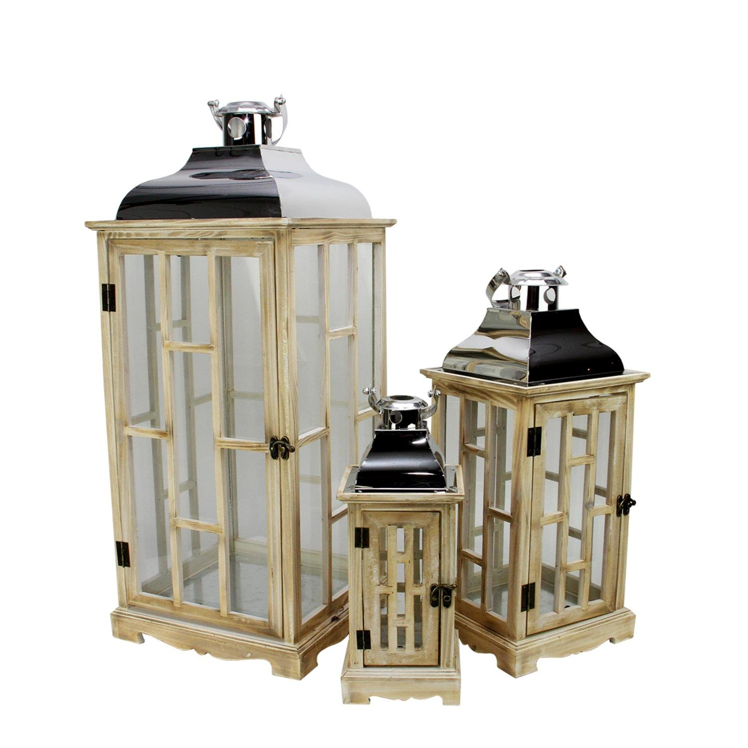 Christmas Tablescape Décor - Elegant tall rustic light brown country wooden lanterns - Set of 3 by Northlight