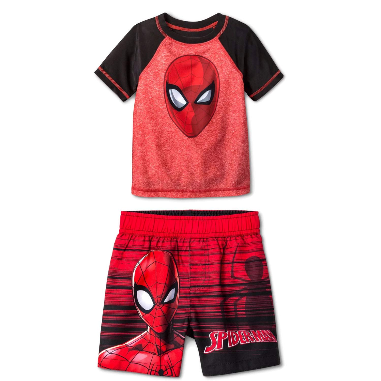 0a36fd21d4 Amazon.com: Spider-Man Boys Swim Trunks and Rash Guard Set (Toddler/Little  Kid/Big Kid) UPF 50+ Sun Protection: Clothing