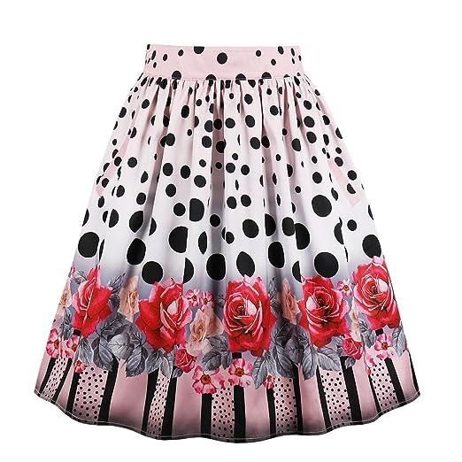e5d697a72ba Wellwits Women's Fancy Print Vintage A Line Pleated Skirt