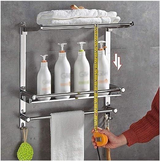 Bathroom Shelf Wall Hanging Shelf Rectangular Storage Shelf for Shower Room with Towel Rail Hook Creative Bathroom Shelf Size : 50cm