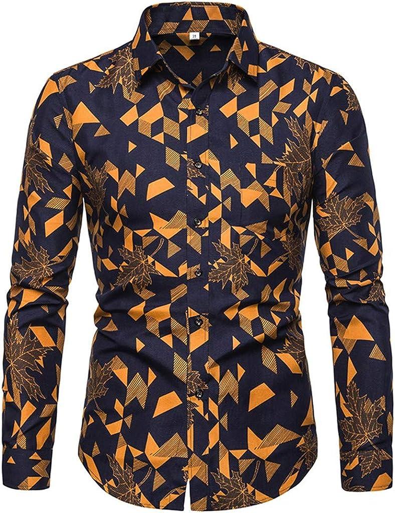 Fxbar Mens Dress Shirt Slim Fit Casual Maple Leaf Geometric Print Shirt Spring Button Down Shirts
