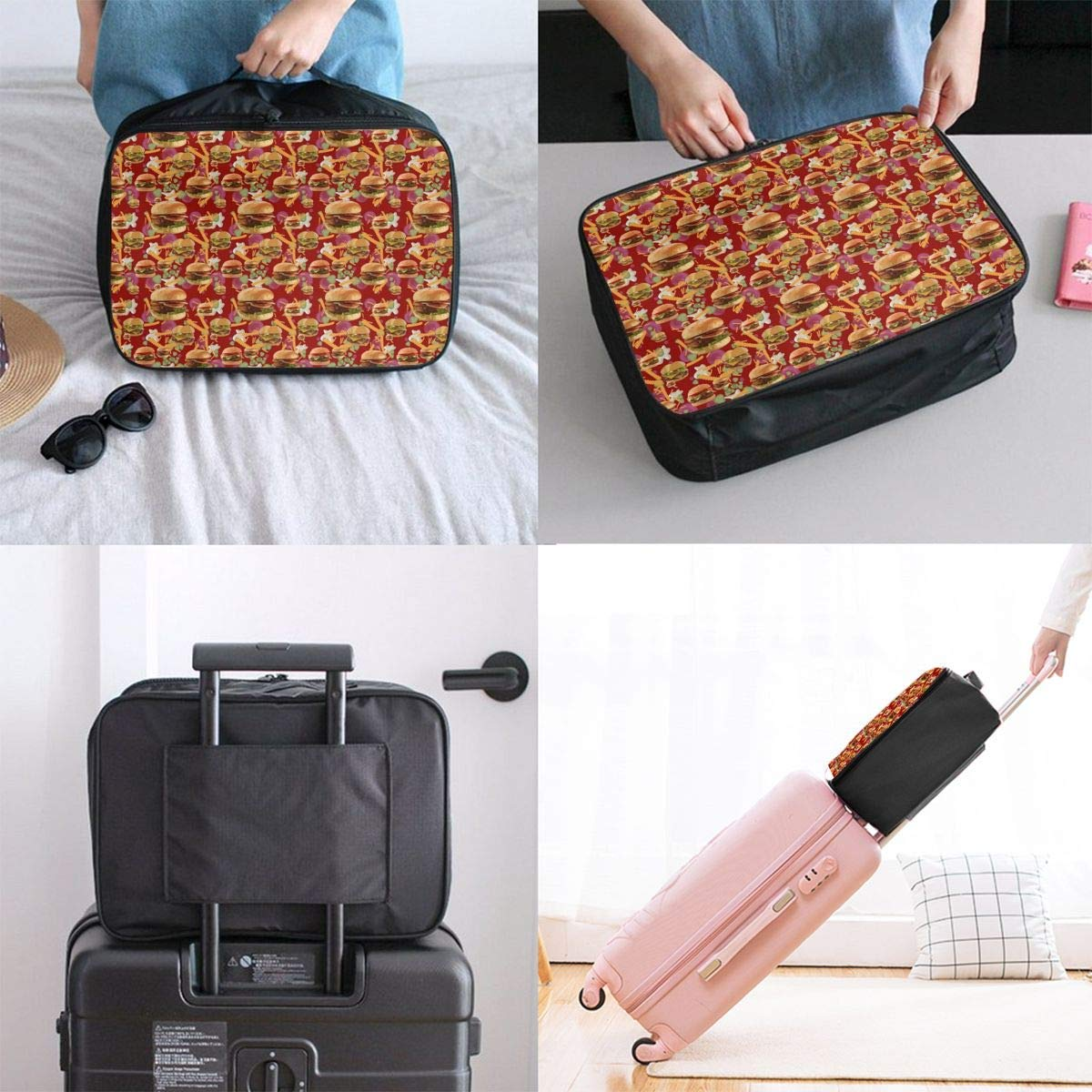 JTRVW Luggage Bags for Travel Travel Lightweight Waterproof Foldable Storage Carry Luggage Duffle Tote Bag Red Hamburgers French Fries