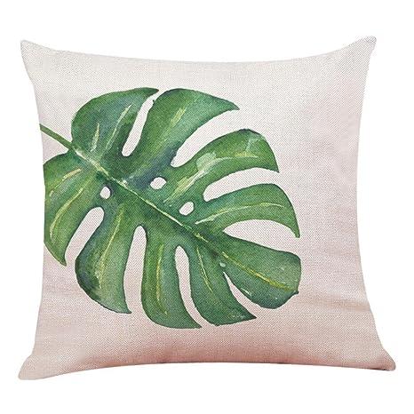 Lenfesh Fundas de Cojines Almohada de Plantas Tropicales Hoja Verde Decorativos Diseño para Sillas Camas Sofás Sofás (C)