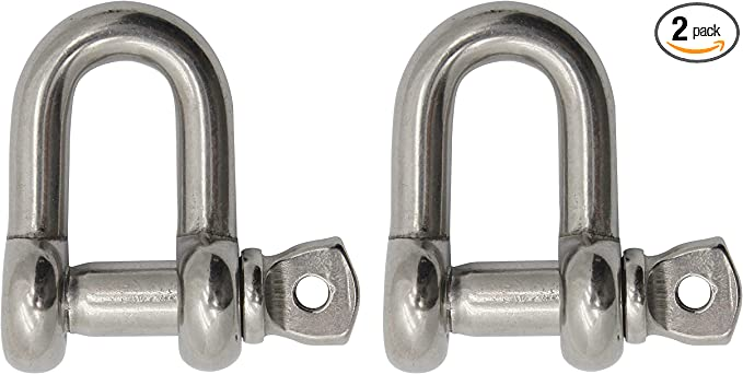 4-Pack Extreme Max Silver Standard 3006.8261.4 BoatTector Stainless Steel Chain Shackle-1//4