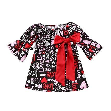 Vestidos para niña 18 meses 5 años JYJM Moda Verano Bebé Niñas Amor Floral Impresión Bowknot