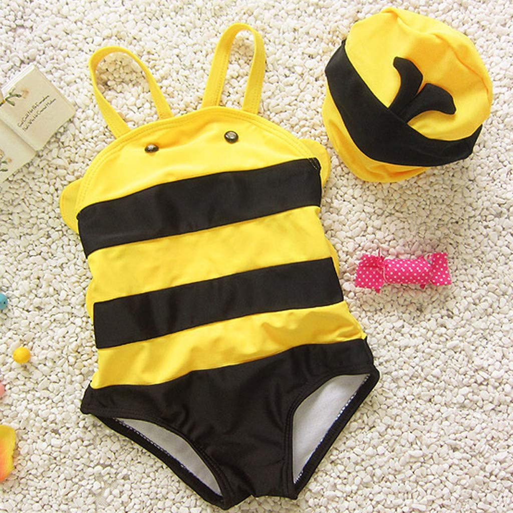 Newmao Toddler Girls Swimsuit Ruffles Striped Bikini Vest Summer Romper Swimmear Clothes